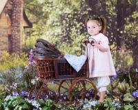 Het duwen Teddy naar huis Achter Royalty-vrije Stock Afbeeldingen