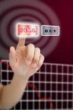Het duwen van de hand verkoopt knoop met crisisgrafiek Stock Foto's
