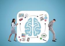 Het duwen van de hersenen, de mannen en de vrouw Met grafiek en blauwe achtergrond royalty-vrije illustratie