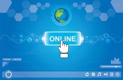 Het duwen van online knoop royalty-vrije illustratie
