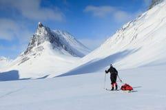 Het dwars ski?en van het land stock afbeeldingen