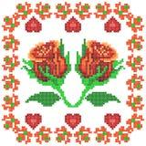 Het dwarsontwerp van Rose Floral van het Steekborduurwerk voor naadloze patroontextuur Stock Foto's
