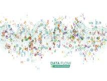 Het dynamische concept van de golventechnologie De abstracte achtergrond van de gegevensstroom met brievencode royalty-vrije illustratie
