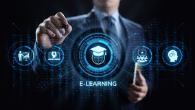 Het e-lerend Online Onderwijs Commerciële concept van Internet op het scherm royalty-vrije stock fotografie