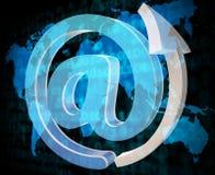 Het e-mailteken toont Bericht verzend en communiceer royalty-vrije illustratie