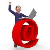 Het e-mailteken wijst Bedrijfs op de Mens en Biz stock illustratie