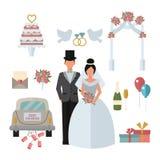 Het echtpaar van de de bruidbruidegom van huwelijkssymbolen, de vette vectorillustratie van de huwelijksauto Royalty-vrije Stock Foto