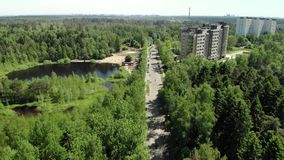 Het ecologisch schone administratieve district van Zelenograd van Moskou in Rusland stock video