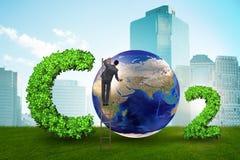 Het ecologische concept broeikasgasemissies stock foto's