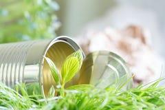 Het ecosysteem van de huisvuilecologie en aanpassingsconcept met tin en installatie stock afbeelding