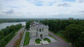 Het edelman` s landgoed van de fabrikant Aseev 01 Lucht Photography Het huis werd gebouwd in de Art Nouveau-stijl stock video