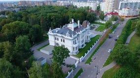 Het edelman` s landgoed van de fabrikant Aseev 04 Lucht Photography Het huis werd gebouwd in de Art Nouveau-stijl stock video