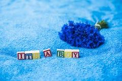 Het is een Aankondiging van de jongenszwangerschap Stock Fotografie
