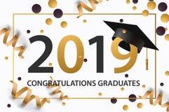 Het een diploma behalen klasse van 2019 Affiche, partijuitnodiging, groetkaart in gouden kleuren Gradaffiche, vectorillustratie vector illustratie