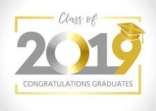 Het een diploma behalen klasse van de vectorillustratie van 2019 stock illustratie