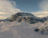 Het een hoogtepunt bereiken van de berg door wolkenlaag stock illustratie