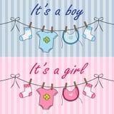 Het is een jongen en het is een meisjesaankondiging Stock Afbeeldingen
