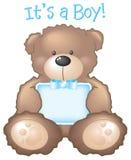 Het is een Jongen! Teddybeer & teken Stock Afbeeldingen