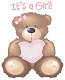 Het is een Meisje! Het teken van de teddybeer Stock Foto