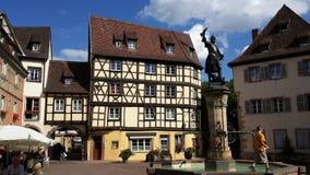 het is een middeleeuws vierkant in Duitsland Stock Foto