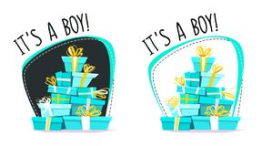 Het is een prentbriefkaar van de jongensgroet of een sticker, minimale vlakke stijl van het beeldverhaal de verkeerde perspectief royalty-vrije illustratie