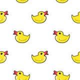 Het eendpatroon herhaalt naadloos in gele en witte kleuren Stock Afbeeldingen