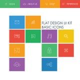 Het eenvoudige basisontwerp van het websitemalplaatje met pictogrammen Stock Foto