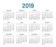 Het eenvoudige geïsoleerde jaar van de muurkalender 2019, vlak, Stock Foto's