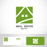 Het eenvoudige groene embleem van huisonroerende goederen Stock Afbeelding