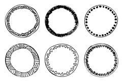 Het eenvoudige hand getrokken malplaatje van de krabbelcirkel Royalty-vrije Stock Afbeelding