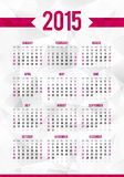Het eenvoudige malplaatje van de het jaarkalender van 2015 op samenvatting Stock Afbeelding