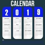 Het eenvoudige Malplaatje van de Muurkalender voor het Jaar van 2019 royalty-vrije stock afbeeldingen