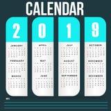 Het eenvoudige Malplaatje van de Muurkalender voor het Jaar van 2019 stock afbeeldingen