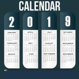 Het eenvoudige Malplaatje van de Muurkalender voor het Jaar van 2019 royalty-vrije stock foto