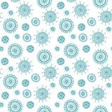 Het eenvoudige naadloze blauwe patroon van de krabbelbloem Stock Foto's