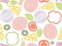 Het eenvoudige naadloze patroon van pizzaingrediënten Witte achtergrond met verschillende kleurensalami, kaas, paddestoel, olijf, Royalty-vrije Stock Afbeeldingen