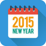 Het eenvoudige nieuwe pictogram van de jaarkalender in vlakke stijl Stock Afbeeldingen