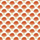 Het eenvoudige patroon van de krabbel leuke amaniet De getrokken naadloze achtergrond van de vliegplaatzwam hand Stock Foto's