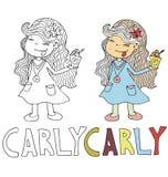 Het eenvoudige tekeningsbeeldverhaal voor het kleuren beeld van kinderen met andere benamingen in de verenigbaarheid met het kara stock illustratie