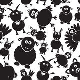 Het eenvoudige zwart-witte naadloze patroon eps10 van landbouwbedrijfdieren Royalty-vrije Stock Afbeeldingen