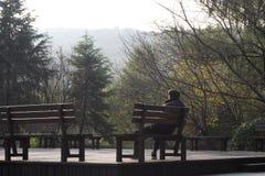 Het eenzaamheidsogenblik onder mooie aard kan u maken verfrissen zich en beter zich voelt royalty-vrije stock fotografie