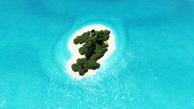 Het eenzame tropische 3D eiland geeft terug Stock Foto