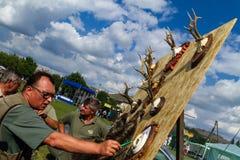 Het eerste festival van jagers in het dorp Perekhrest Stock Afbeelding