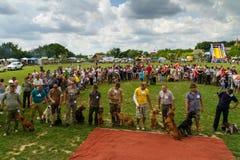 Het eerste festival van jagers in het dorp Perekhrest Royalty-vrije Stock Foto