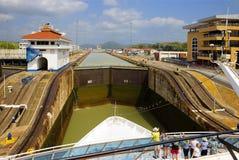 Het eerste slot van het kanaal van Panama van de Vreedzame oceaan Stock Fotografie
