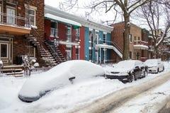 Het eerste sneeuwonweer van het seizoen raakt Montreal, Canada Royalty-vrije Stock Fotografie