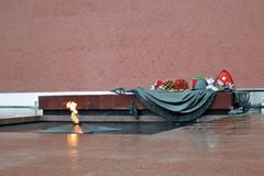 Het eeuwige gedenkteken van de vlamoorlog in Moskou Royalty-vrije Stock Fotografie