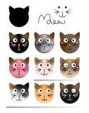 Het effect van de kattenvorm kleurenreeks stock illustratie