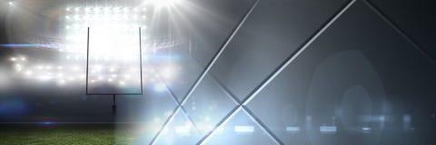 Het effect van de de lichtenovergang van het sportenstadion met geometrische panelen Stock Foto