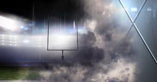 Het effect van de de lichtenovergang van het sportenstadion met geometrische vormen Stock Foto